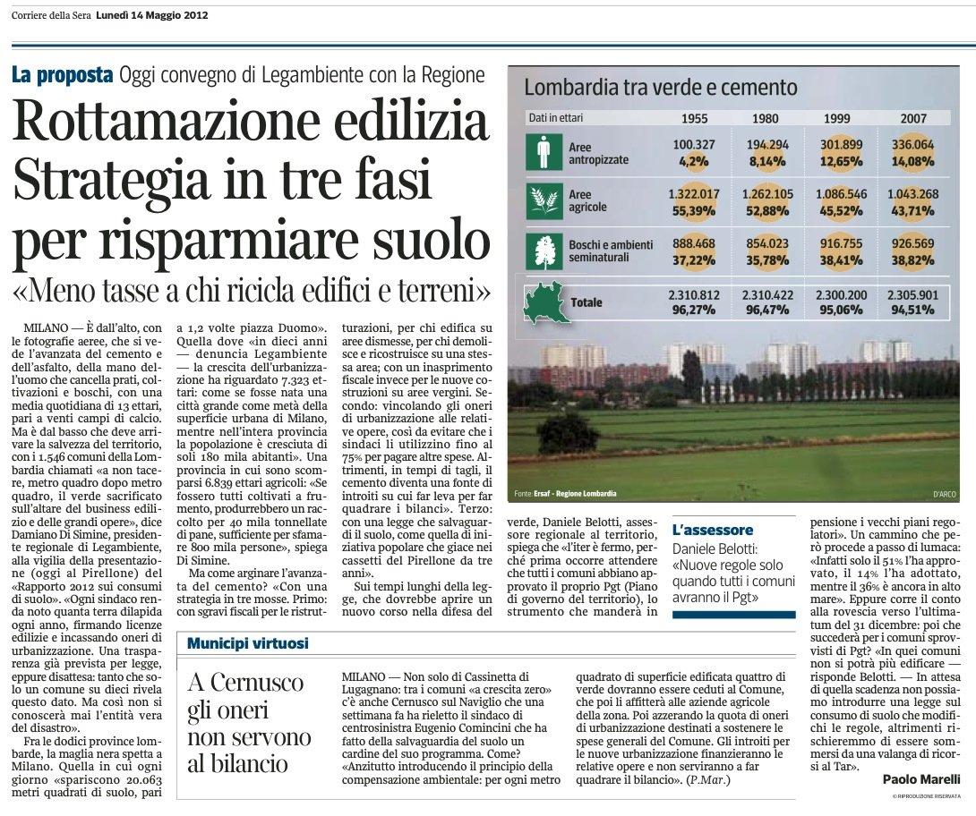 Corriere della Sera 14 maggio 2012 - Consumo di suolo
